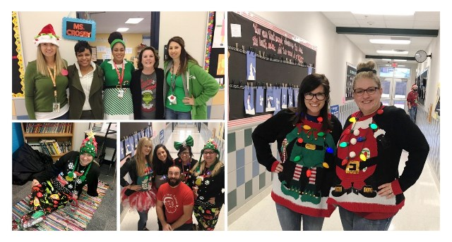 Teacher dressed in holiday cheer